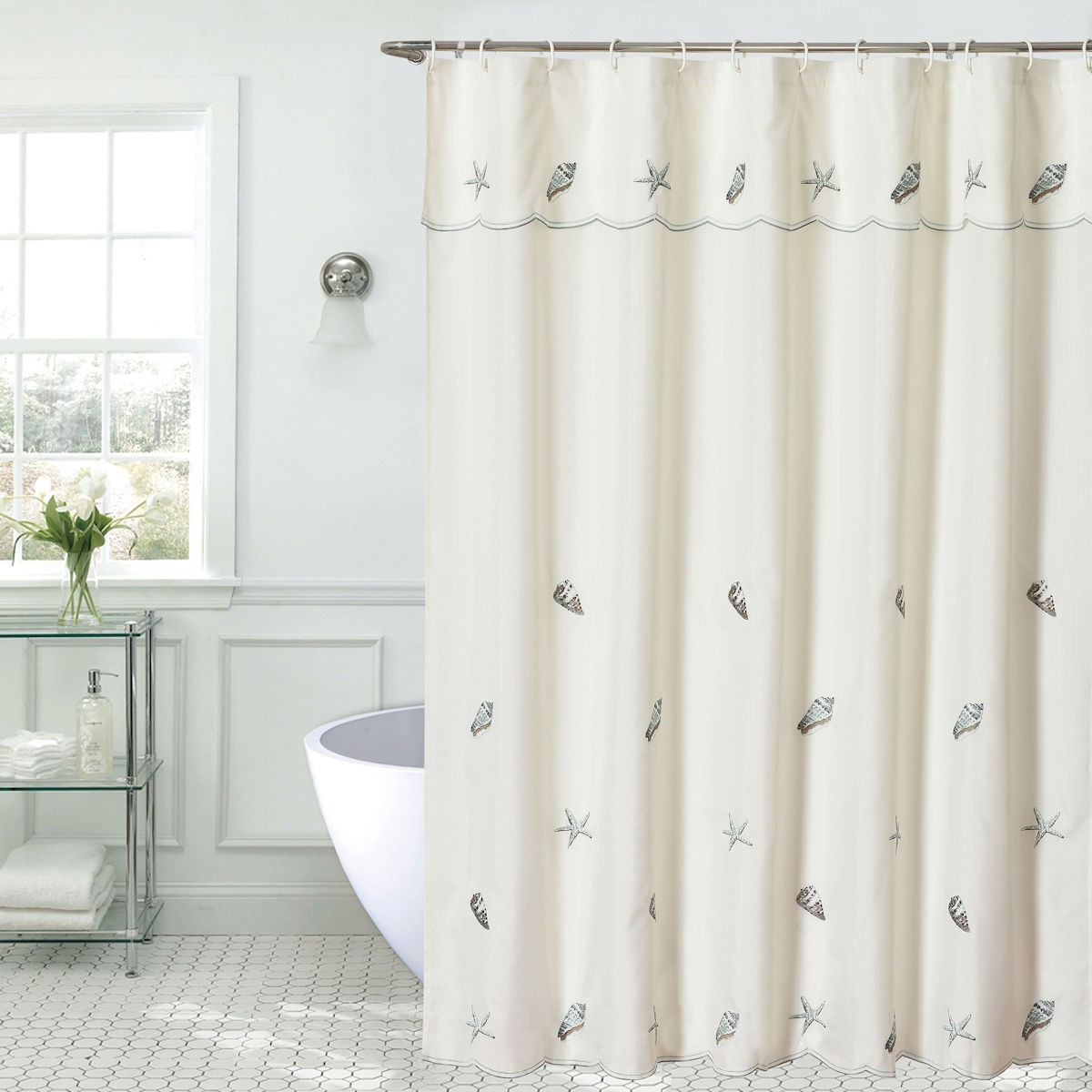 Seashells Embroidered Shower Curtain Port Bay