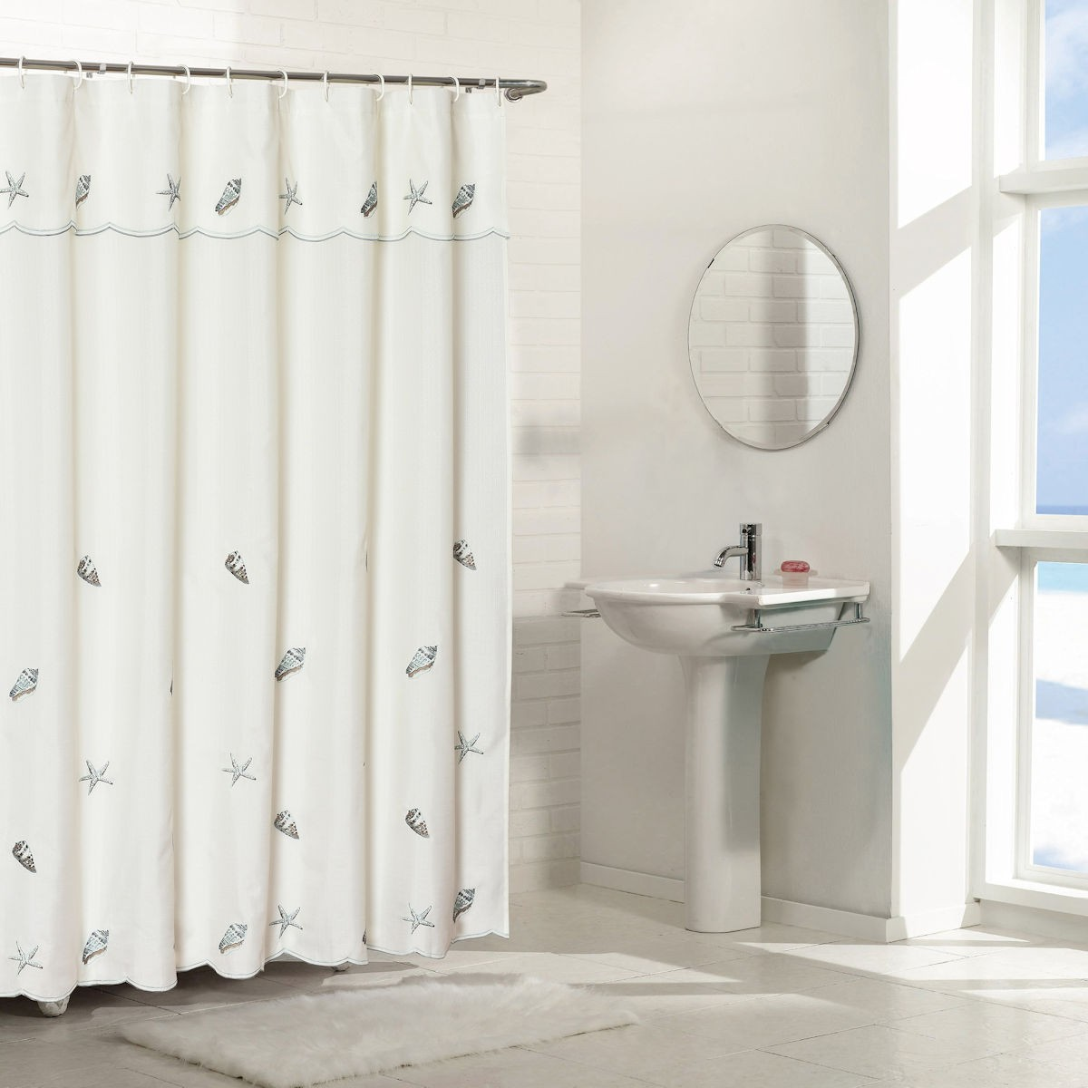 Seashells Embroidered Shower Curtain