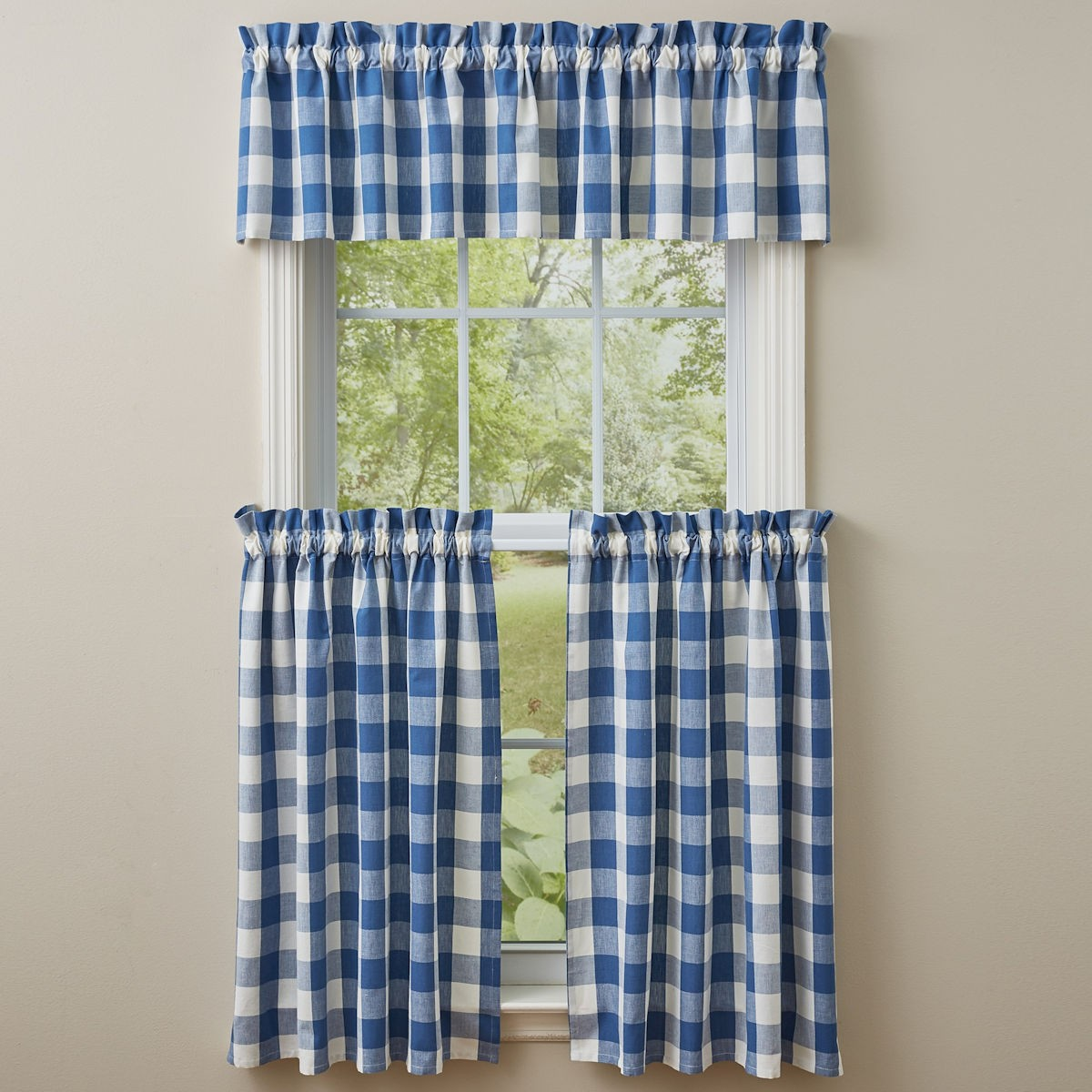 Wicklow Buffalo Check China Blue Tier Curtain Port Bay